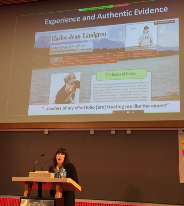 Picture of Tracy Penny Light speaking at the BC Open Badges Forum, KPU