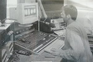 Longtime ETUG member Clint Lalonde in 1998 producing radio programs for Camosun College's Education on the Air program.