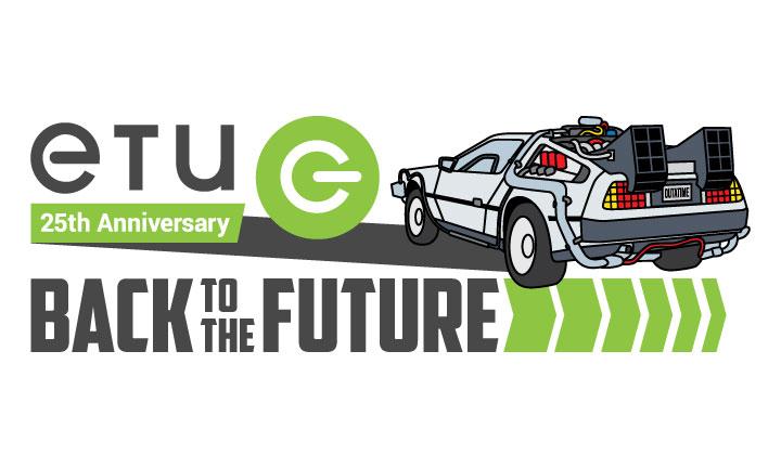 ETUg 25th anniversary logo of delorean car