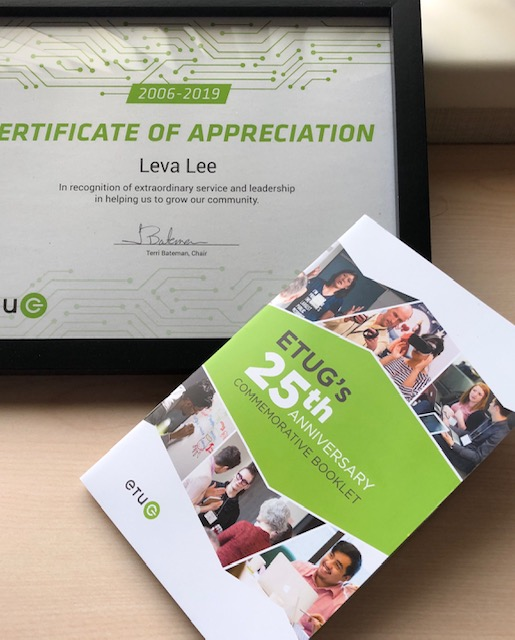 Certificate of Appreciation to Leva Lee with 25th Anniversary Booklet